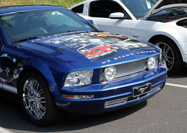 2005-2009 Mustang with Chromed Headlights at a Car Show