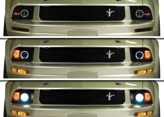 Multiple Views of a 2005 Mustang's Headlights