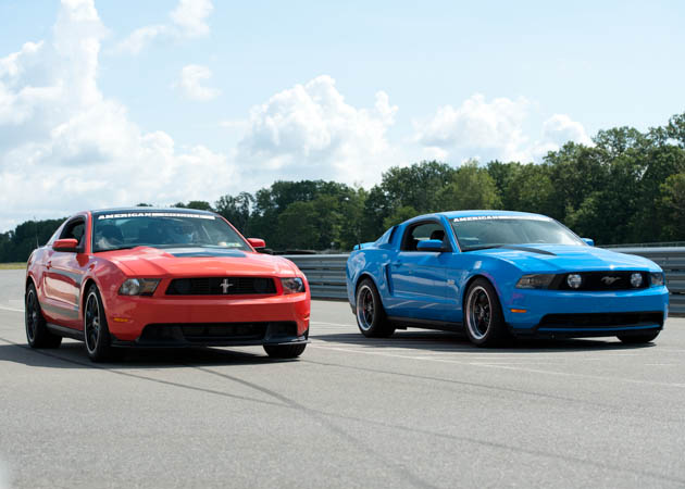 2011 GT and a 2012 Boss Mustang