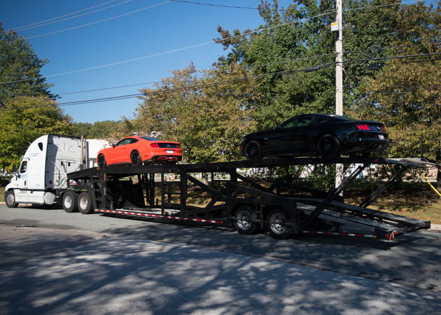 2015 EcoBoost and a 2015 GT Mustang on a Trailer