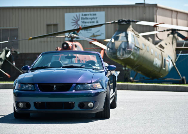 1999-2004 Mystachrome Cobra Mustang in Front of a Chopper