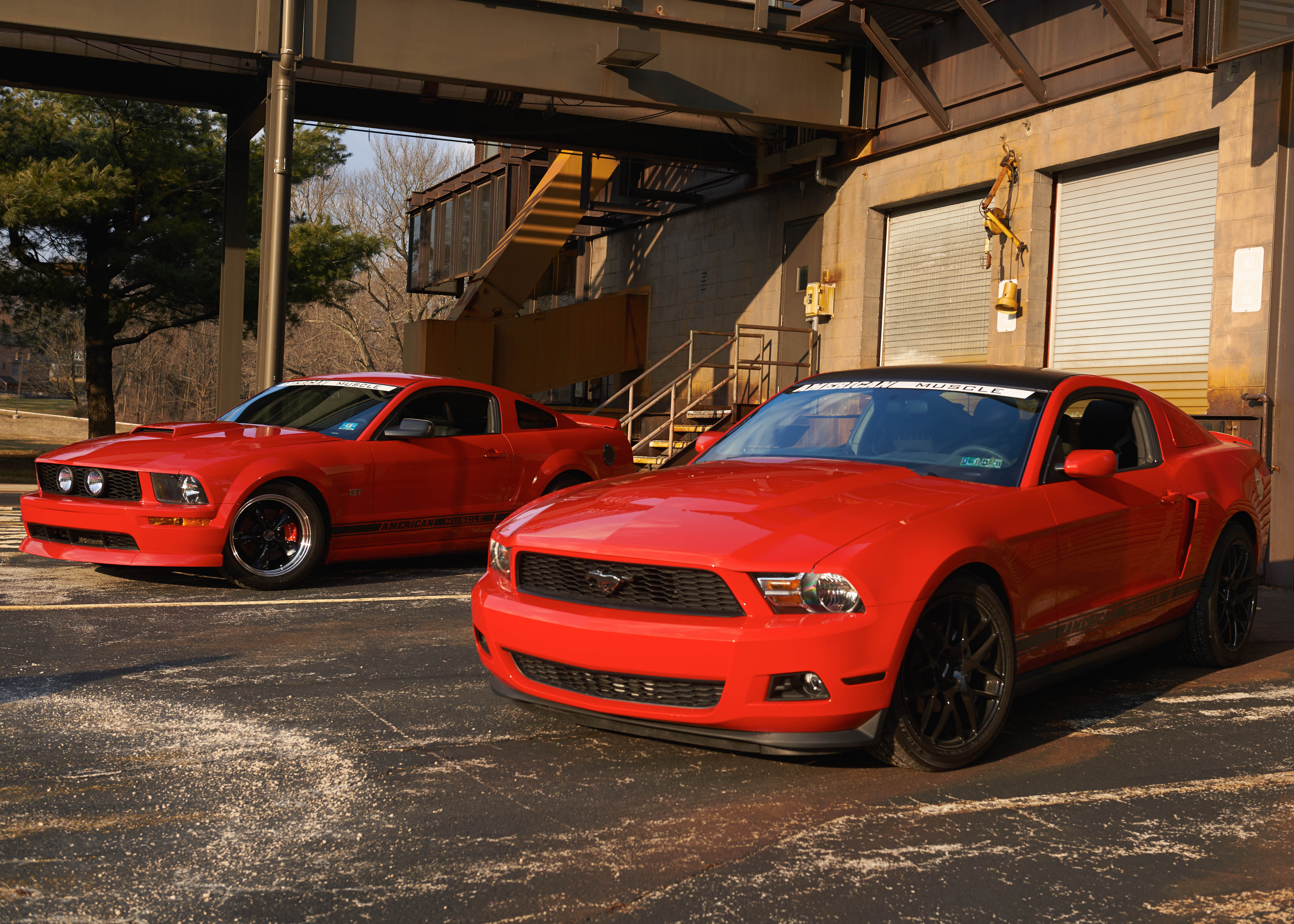A 2007 and a 2011 Mustang at the Warehouse