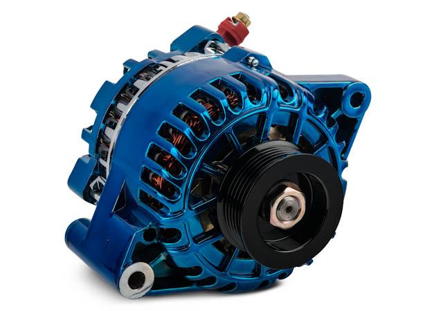 Blue Chrome Mustang Alternator